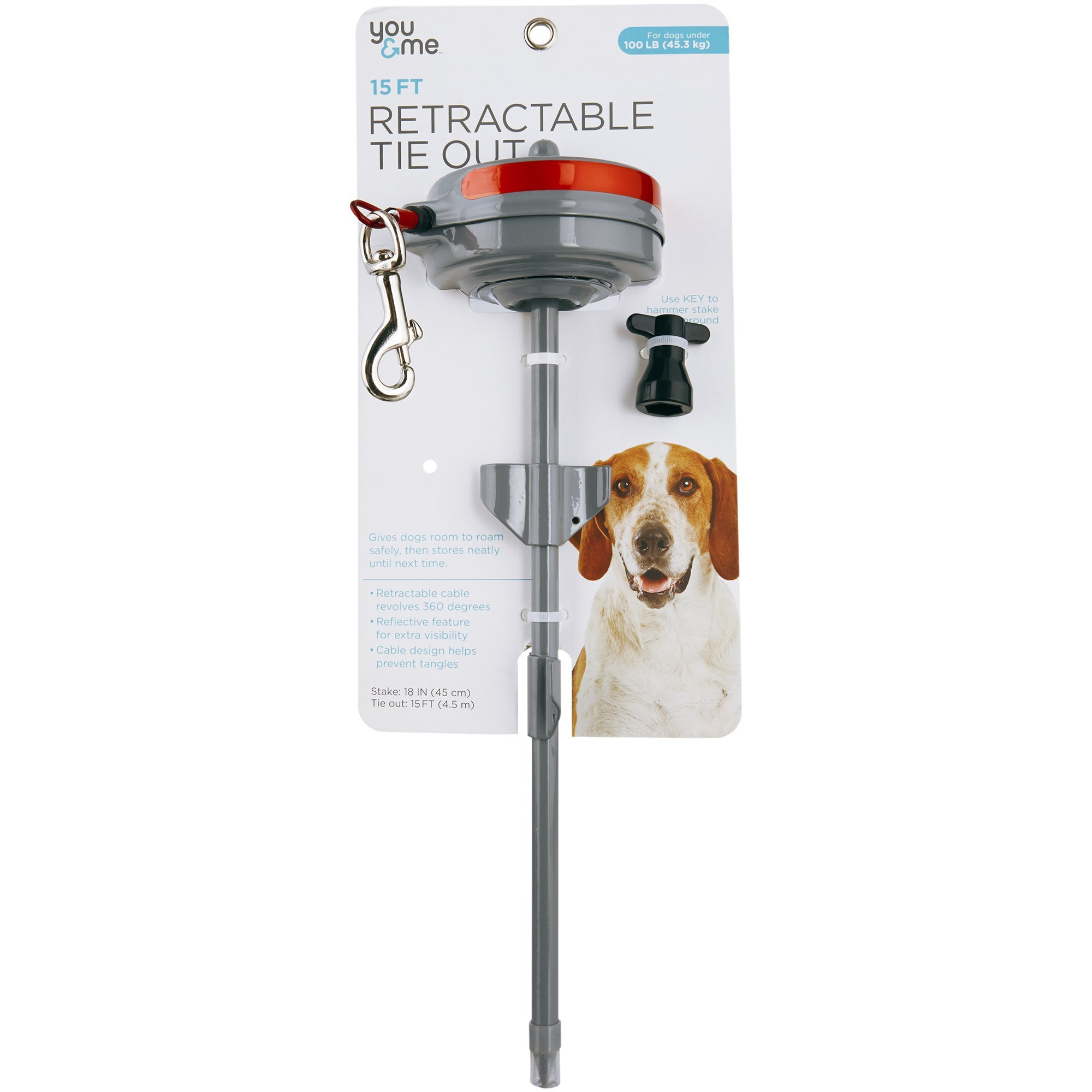 You & Me Heavy Retractable Tie Out, 15' L, for Dogs up to 100 LBS, 15 FT by You&Me