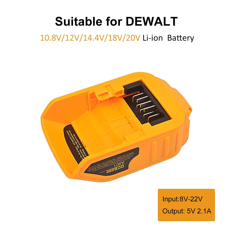 20V para el adaptador de fuente de alimentaci/ón Dewalt XR MAX 10.8v 12v 14.4V 18V 20V Convertidores de carga de bater/ía de litio para el altavoz del tel/éfono m/óvil DCB090 Cargador USB m/áximo de 12V