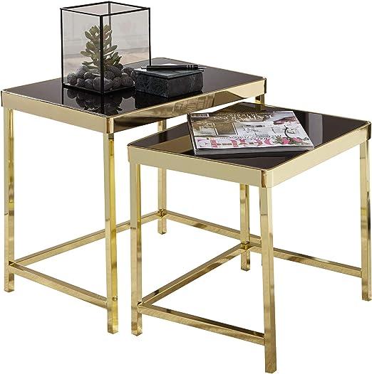 Wohnling Juego de mesa Viola negro/oro – Mesa auxiliar, metal ...
