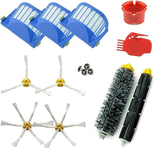 ASP-ROBOT® PRO Recambios compatibles con Roomba serie 600 610 620 621 630 650 651 655 660 661 PET. Filtro, cepillo lateral, rodillo central y accesorios. Pack repuestos. KIT recambios: Amazon.es: Hogar