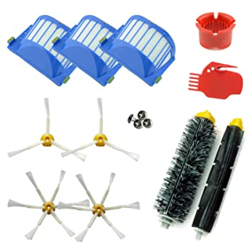 ASP-ROBOT® PRO Recambios Roomba serie 600 610 620 621 630 650 651 655 660 661 PET. Filtro, cepillo lateral, rodillo central y accesorios. Pack ...