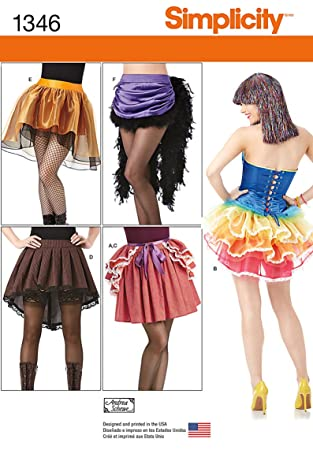 Amazon.com: Simplicity Creative Patterns 1346 Misses\' Costume Skirts ...
