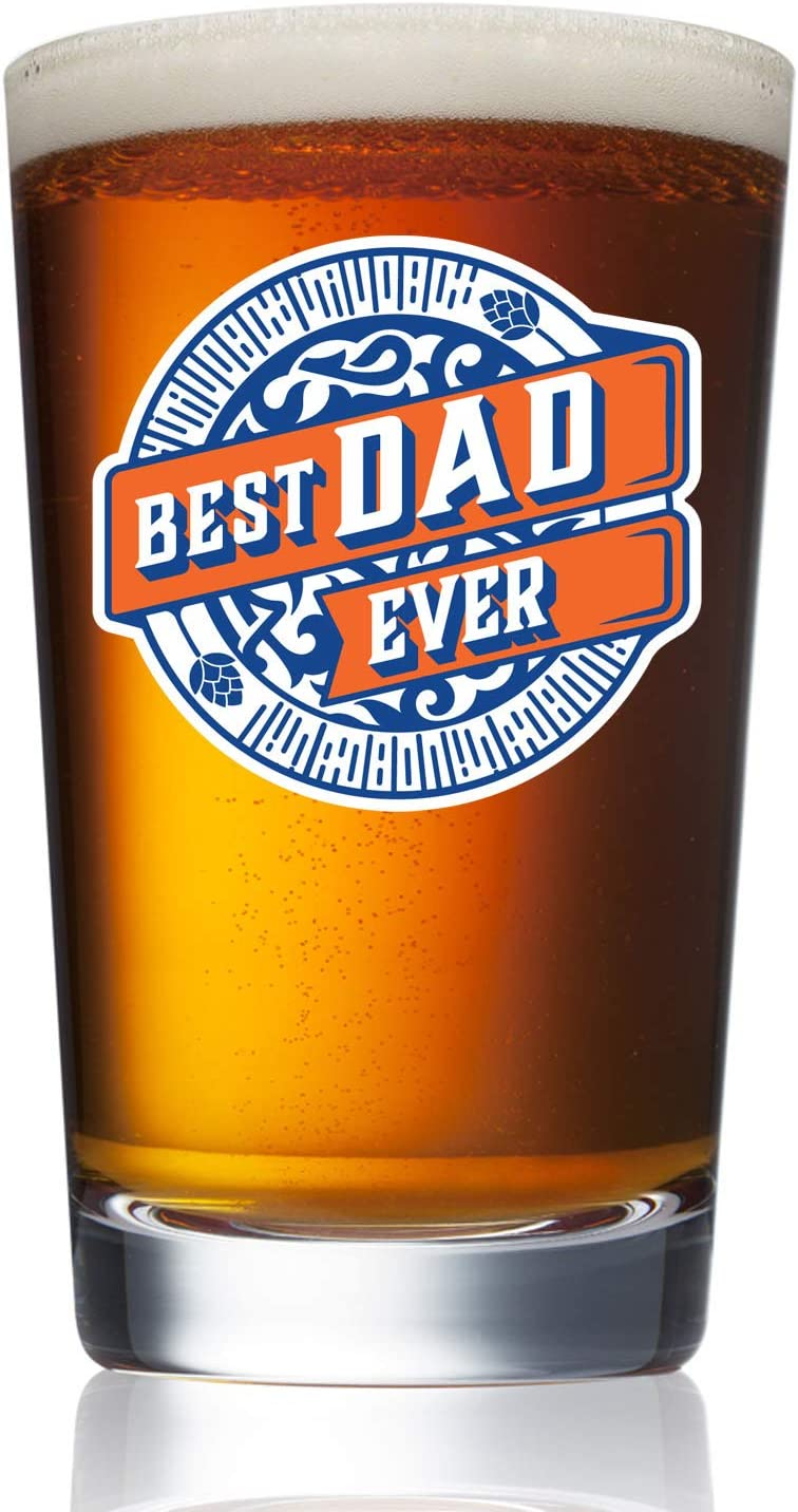 Best Dad Ever - 16 oz Pint Craft Beer Glass Mug - Gifts for Dads Grandpas Him from Kids - Best Birthday Fathers Day Christmas Ideas from Daughter Son Wife - Father Grandfather Cool Funny Presents