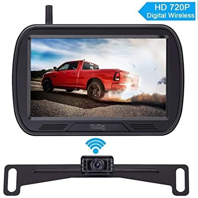 Yakry Y25 HD Digital Wireless Backup Camera System 5 Inch Monitor Hitch Rear View License Plate Camera for Trucks,Vans,Campers,Cars,SUVs Front View Camera Kit Guide Lines DIY Settings: Car Electronics