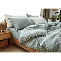 TanNicoor Pom Fringe Duvet Cover Set - 3 Piece Natural Ultra SOFE Color Washed Cotton Bedding Set, Modern Style Down Comforter Quilt Cover with Zipper Closure