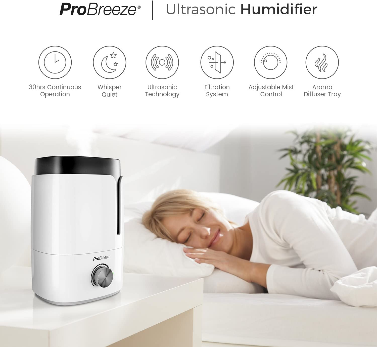 Pro Breeze Premium 3.5L Ultrasonic Cool Mist Humidifier Large Water Tank Capacity with Built in Aroma Diffuser Tray & Auto Shut Off