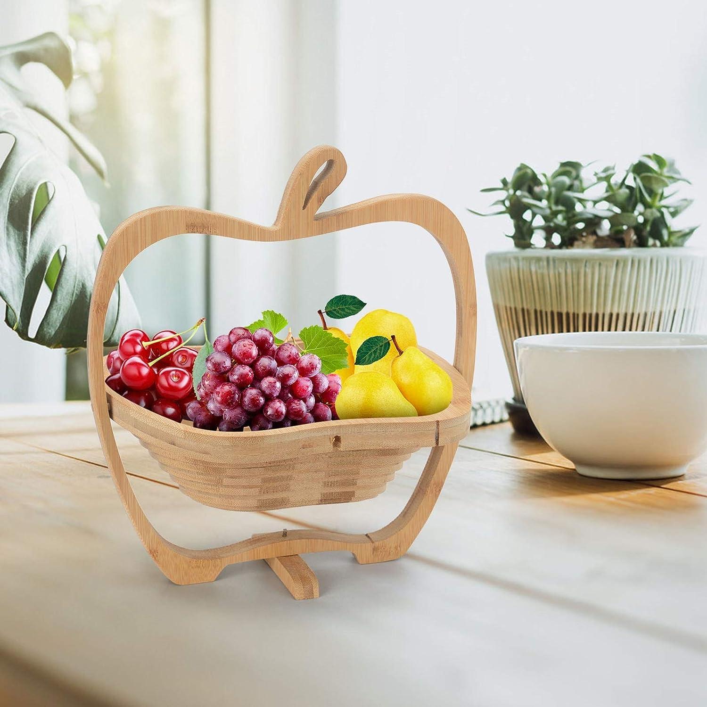 Holdfiturn Apple Shaped Fruit Bowl Basket 24x26cm Collapsible Fruit Basket Bamboo Egg Basket Stores Flat Fruit Holder