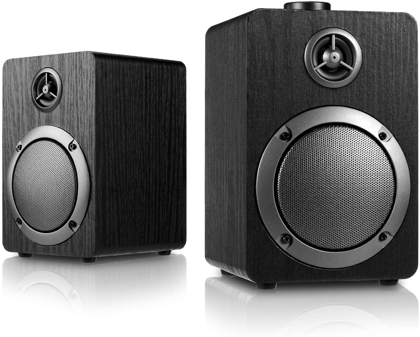 USB-Powered PC Computer Speakers; Mica PB20 with 2.0CH Surround Sound, Wooden Wired LED Volume Control Mini Speaker for Multiple Devices, Black
