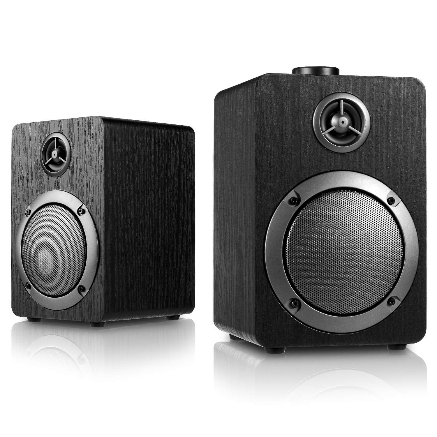 USB-Powered PC Computer Speakers Mica PB20 with 2.0CH Surround Sound, Wooden Wired LED Volume Control Mini Speaker for Multiple Devices with 3.5mm AUX PC Input Black