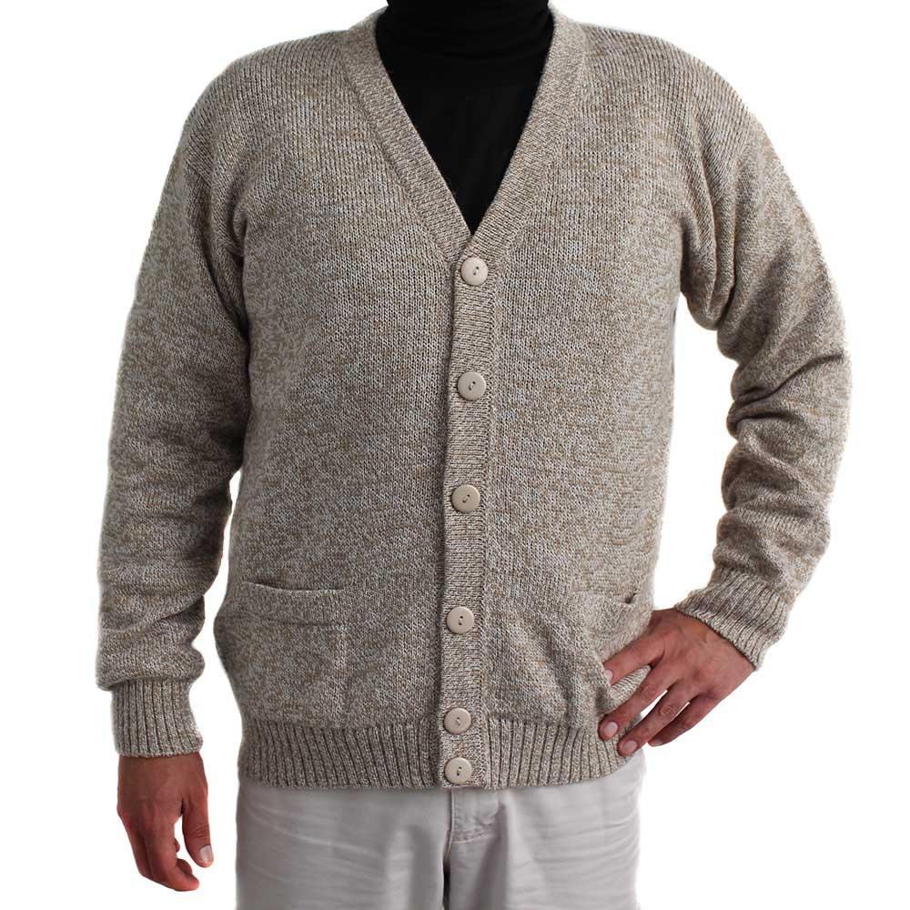 CARDIGAN GOLF SWEATER JERSEY V neck buttons and Pockets Alpaca Blend made in PERU HEATEHER BEIGE L