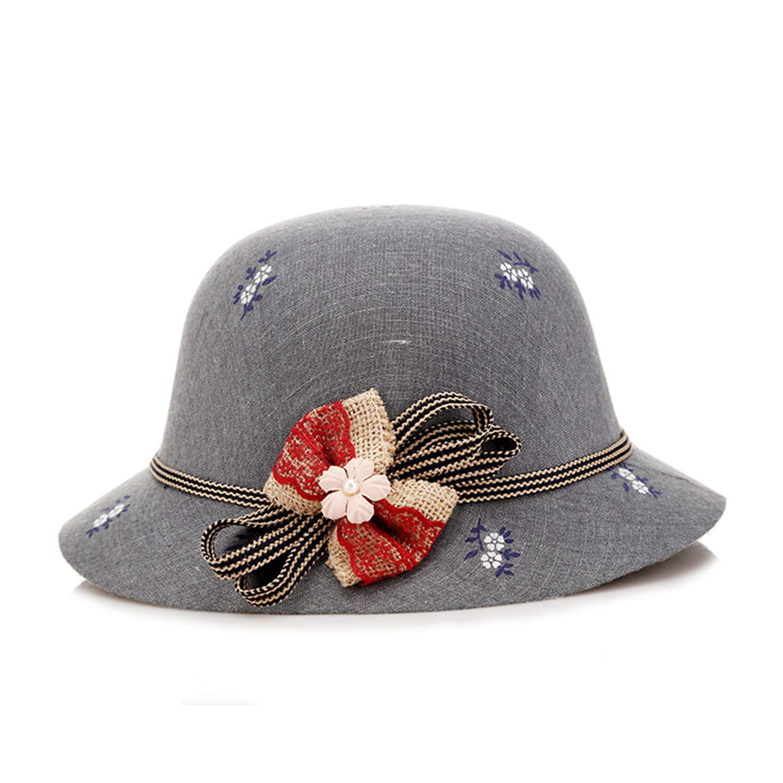 Womens Bucket Cap Cotton Female Bow Tie Vintage Elegant Fishing Caps Flower Printed Autumn Spring Bucket Hat
