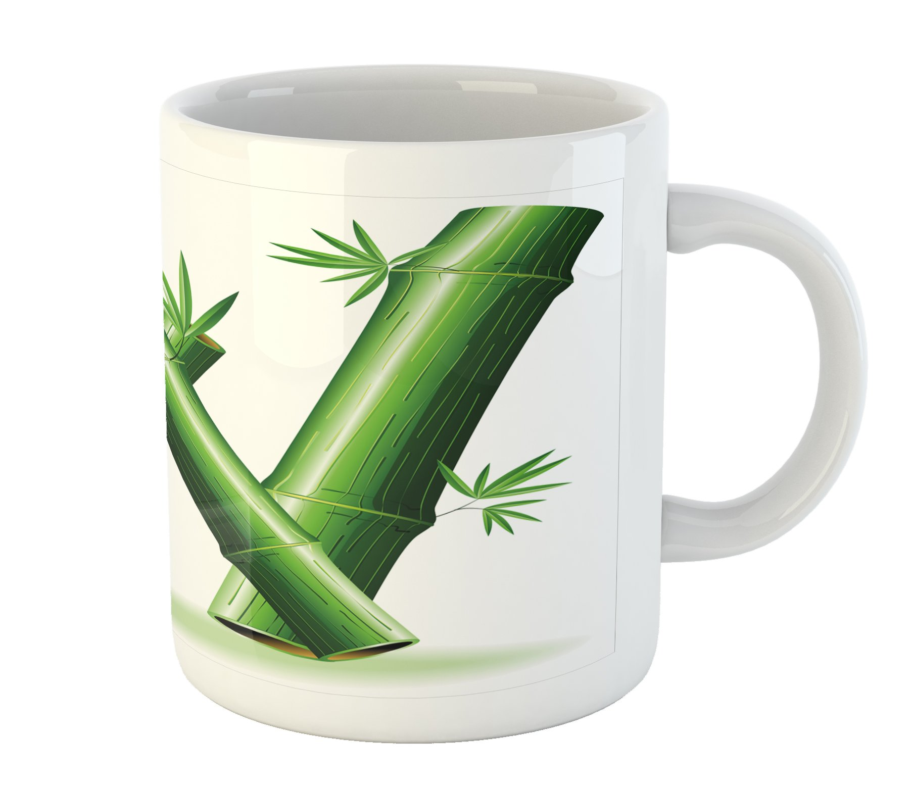 Ambesonne Letter W Mug, Bamboo Branches Forming Letter W Zen Spa Themed Alphabet Typeset Green Leaves, Printed Ceramic Coffee Mug Water Tea Drinks Cup, Green White