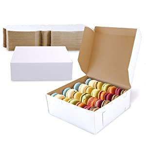 [25 Pack] Pastry Boxes - 8 x 8 x 3 Inches White Bakery Box for Cookies, Compostable Kraft Paper Cardboard for Baked Goods Packaging, Cake, Food Treat, Donut, Cupcake, Candy, Bread, Bridesmaid Gift Box