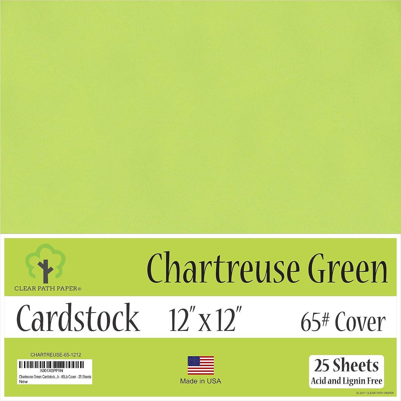 シャルトリューズグリーンカードストック - 12 x 12インチ - 65ポンドカバー - 25枚 12 x 12 Inch - 25 Sheets グリーン CHARTREUSE-65-1212 B07JDFQYNP  12 x 12 Inch - 25 Sheets