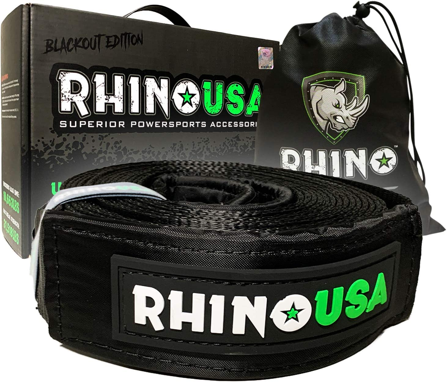 Triple Reinforced Loop Straps to Ensure Peace of Mind Rhino USA Blackout Edition Recovery Tow Strap 3 x 30ft Heavy Duty Draw String Included Lab Tested 31,518lb Break Strength Emergency Rope