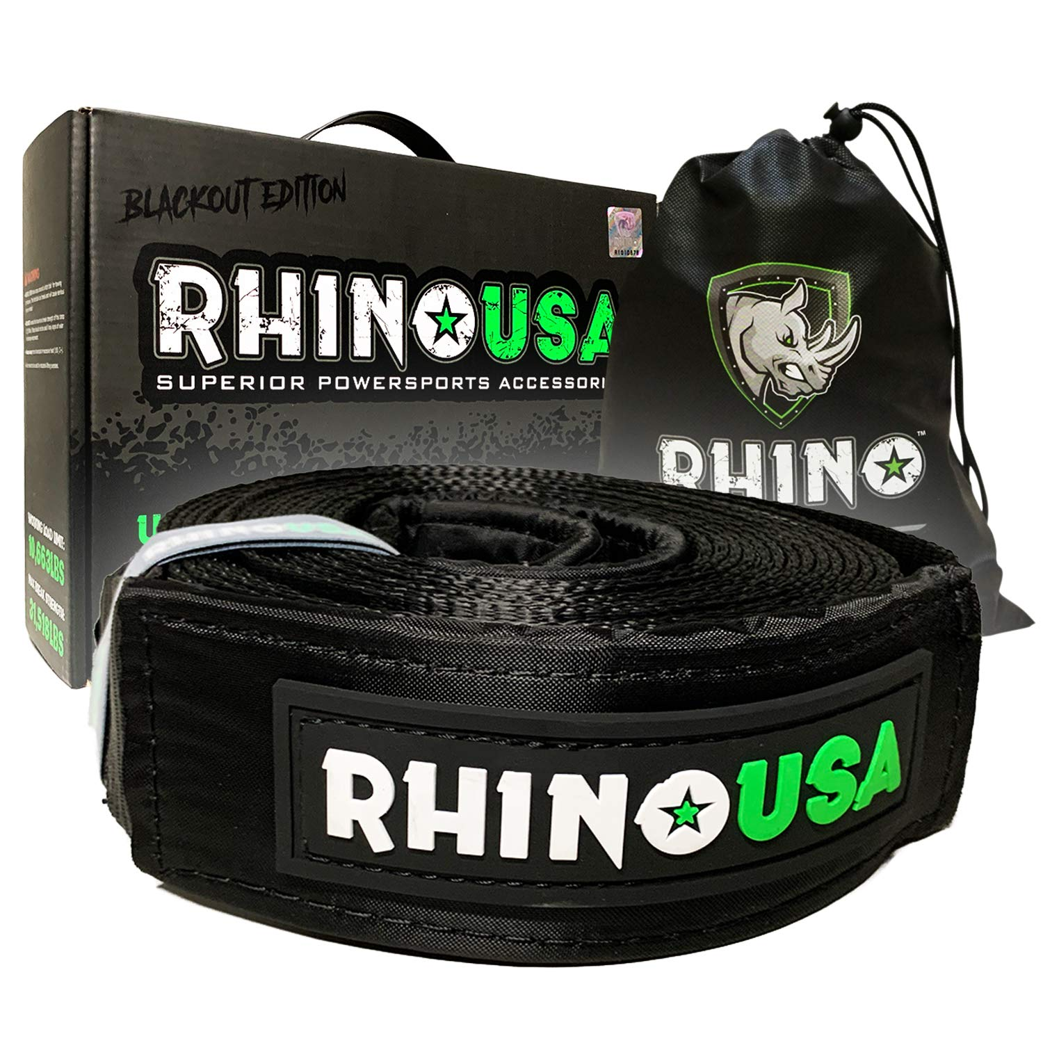 Triple Reinforced Loop End to Ensure Peace of Mind Rhino USA Blackout Edition Tree Saver Winch Strap 3 inch x 8 Foot Emergency Off Road Recovery Tow Rope Lab Tested 31,518lb Break Strength