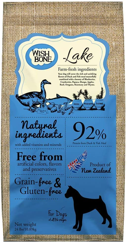 Wishbone Lake Grain-Free and Gluten-Free Dog Food, Made from New Zealand Duck Dry Dog Food, All Natural Dog Food, High Protein Dry Dog Food, for All Dog Life Stages