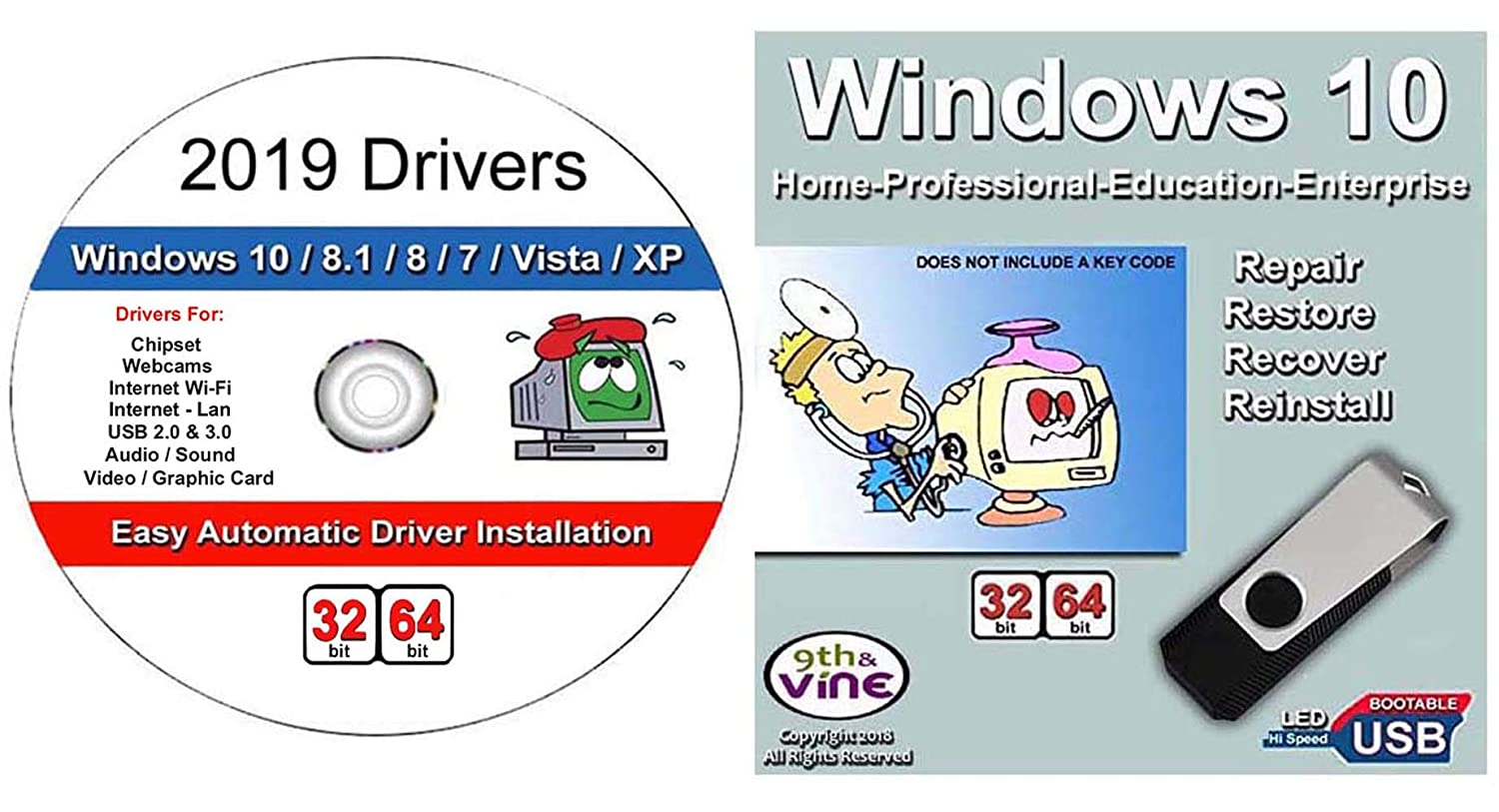9th and Vine Compatible Windows 10 Home and Professional 32/64 Bit USB  Flash Drive and 2019 Drivers  Install To Factory Fresh, Recover, Repair and