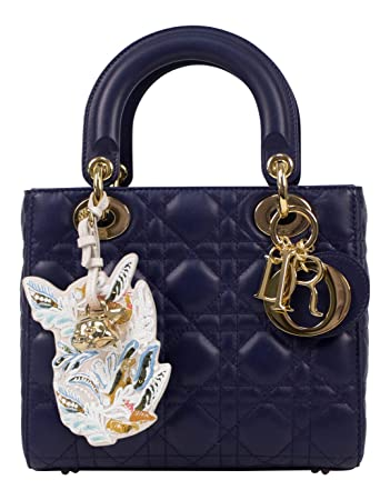 5aa3c92822 Image Unavailable. Image not available for. Color: Christian Dior 'Lady Dior'  Blue Cannage Leather Shoulder Bag