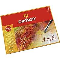 Canson Acrylic 400gsm Paper Block Including 10 Sheets, Size:24x32cm, fine Grain Texture