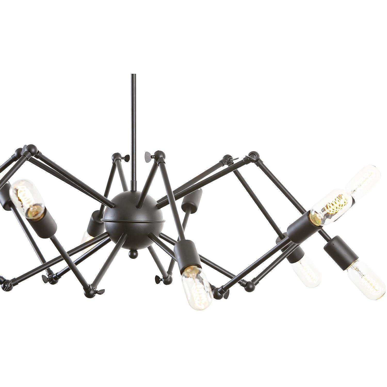 Light Society Arachnid 12 Chandelier Pendant Matte Black Mid Century Modern Industrial Starburst Style Lighting Fixture LS C111 BLK