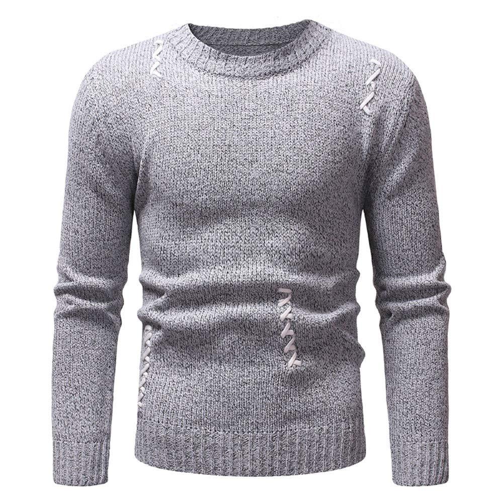 Sylar Suéters para Hombre Invierno Moda Cuello Redondo Color Sólido Manga Larga Casual Caliente Outwear Pullover Delgado Tops Jersey: Amazon.es: Ropa y ...