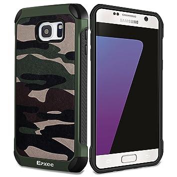 Epxee Funda Samsung Galaxy S7 Edge, Silicona [Shock-Absorción] Case Carcasa para Samsung Galaxy S7 Edge (Camuflado-001)
