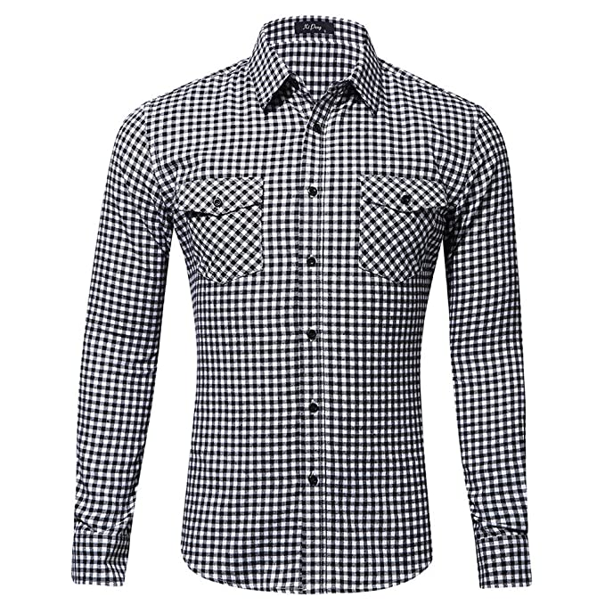 b93c8dc1c Coohole-1220 Mens Casual Fashion Long Sleeved Shirt Double Pocket Little  Plaid Printing Shirt White: Amazon.in: Clothing & Accessories