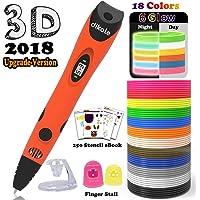 3D Pen with 18 Colors PLA Filament Refills - Dikale 07A【Newest Version】3D Drawing Printing Pen Bonus 18 Colors 180 Feet PLA 250 Stencils eBooks for Kids Adults Arts Crafts Model DIY, Non-Clogging