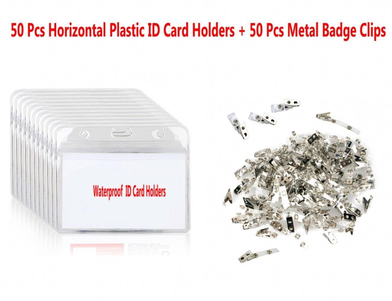 Sunreek 50pcs en plastique transparent horizontal Nom Tag badge carte d\'identité Supports et 50pcs en métal avec clips pour badge d\'identification en PVC Sangles pour exposition, à l\'école, conférence carte d\'identité et nom Tag badge à l' école