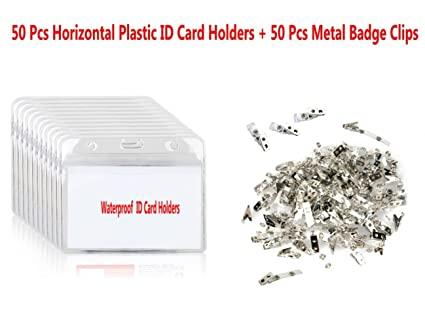 Porta tarjetas de identificación de PVC de 50 piezas y clips ...