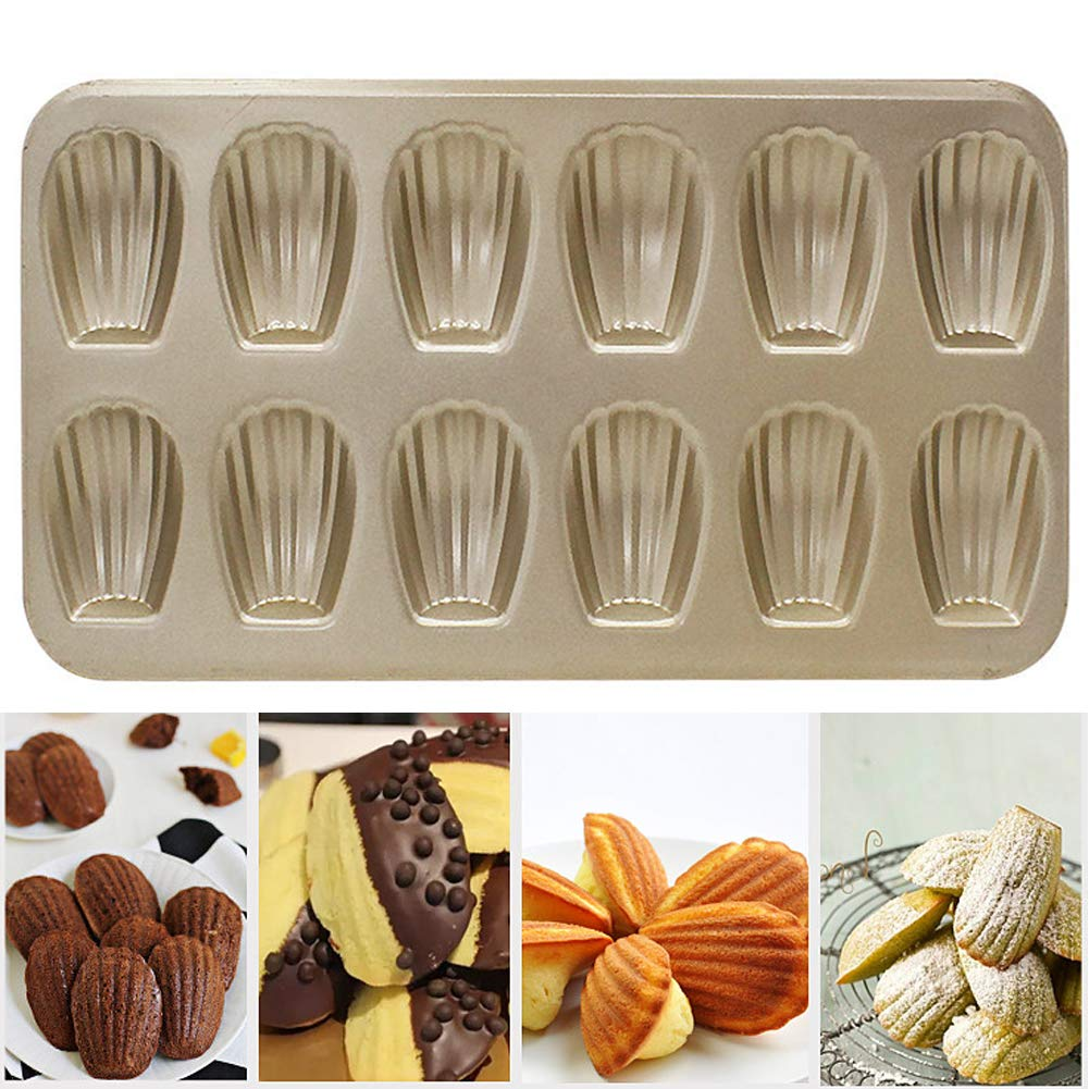 Madeleine Tray, Metallic Professional Non-Stick 6/12-Hole Madeleine Bake Mold, Carbon Steel Madeleines Baking Tray DIY Durable Cake Mould Pan Mold For Madeline Cake Bread(6 Holes, Gold) Tubwair