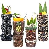 Tiki Mugs Cocktail Set of 4 - Tumblers Ceramic Hawaiian Luau Party Mugs Drinkware, Cute Exotic Cocktail Glasses, Tiki…