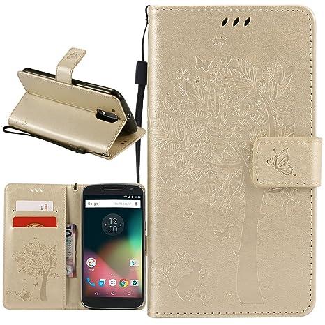 Supporter Flip PU Cuir Pochette Portefeuille Housse Coque Etui pour Motorola Moto G4 / G4 Plus avec Crédit Carte Tenant Fente Moto G4 / G4 Plus Coque Dooki A-02