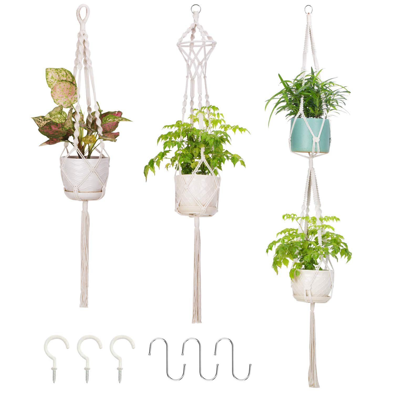 Mkouo Suspension Plante Macram/é Pot Suspendu Plante Porte D/écoration du Jardin avec 4 Jambes en Corde de Coton 89 cm