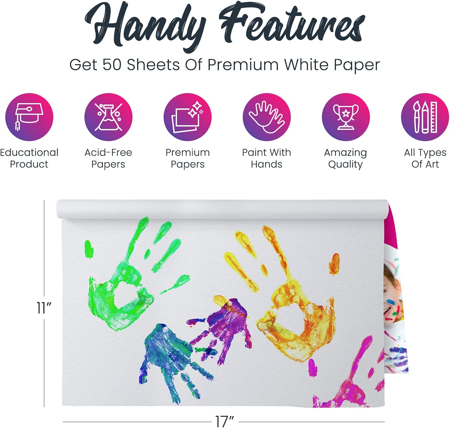 """Lartique Finger Paint Pad - Painting Paper Book for Kids - 50 Non-Absorbent Bleedproof Sheets for Toddlers - 11"""" x 17"""" Art Paper for Finger Painting, Stamp Art - Watercolor Paper for Crafts Supplies: Arts, Crafts & Sewing"""