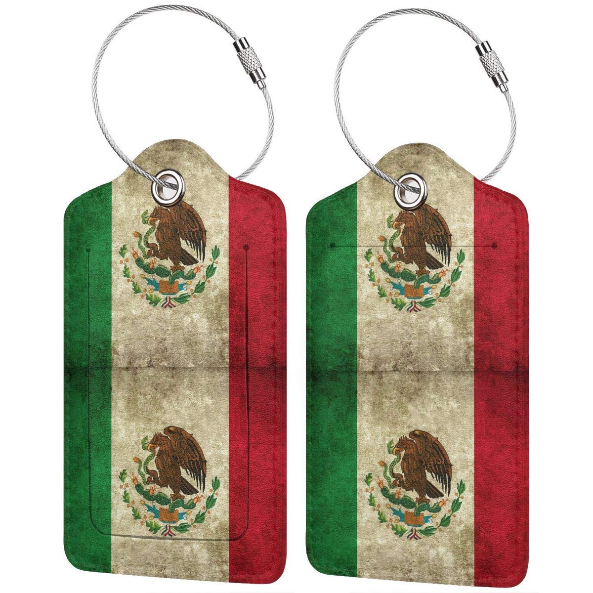 Mexican Flag Leather Luggage Tags Personalized Extra Address Cards With Adjustable Strap
