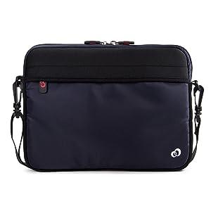 10 - 11 inch Slim Neoprene Messenger Laptop & Tablet Bag, Water Resistant Cover Sleeve Case for Apple MacBook, iPad Pro, Kindle 10 (Navy)