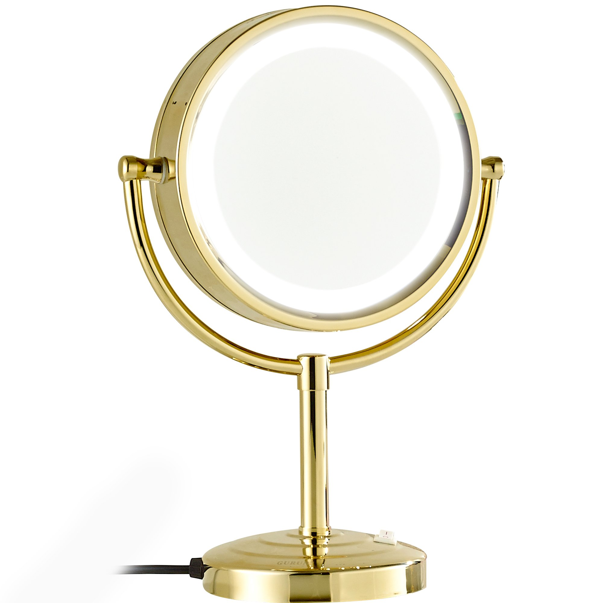 GURUN 8.5-Inch Tabletop Double-Sided LED Lighted Make-up Mirror with 10x Magnification,Gold Finish M2208DJ(8.5in,10x)
