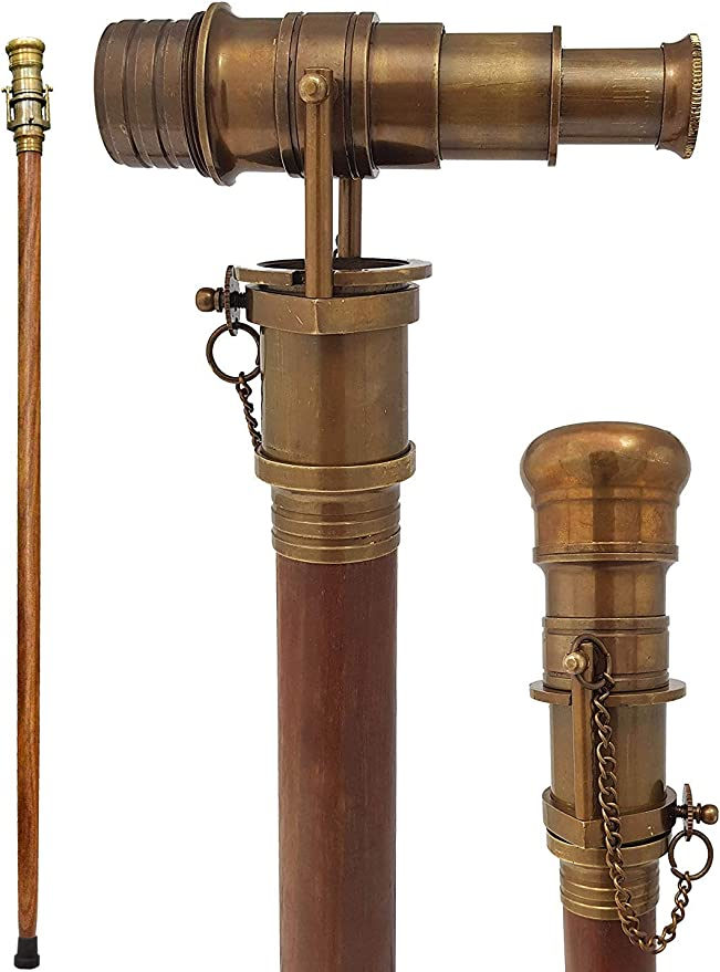Details about  /Antique Hidden Spy Glass Telescope Handle Nautical Brown Wooden Walking Stick