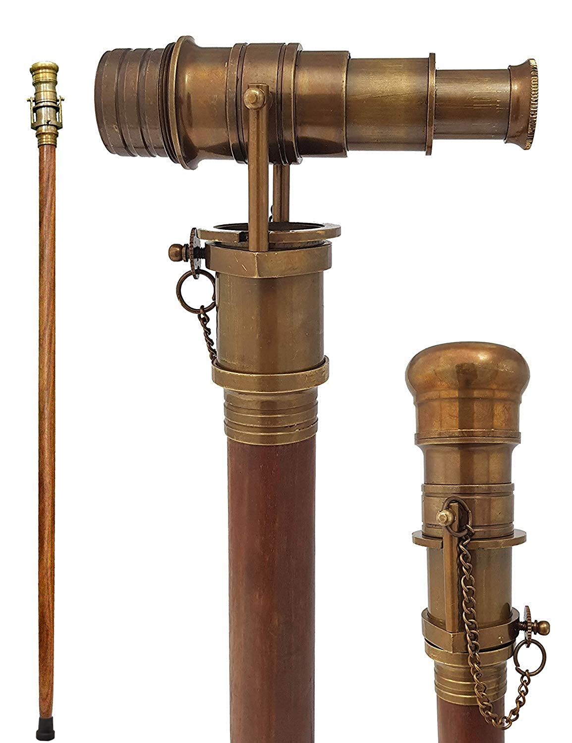 Men's Steampunk Goggles, Guns, Gadgets & Watches Brass Nautical Telescope Walking Stick Antique Finish Costume Wooden Cane Foldable Rosewood Stick Steampunk Style $49.99 AT vintagedancer.com