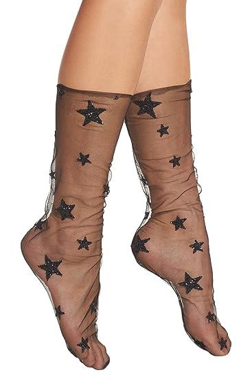 a6e383054 SENSERISE Womens Sheer Transparent Ankle Slouch Glitter and Stars Tulle  Socks(Black)