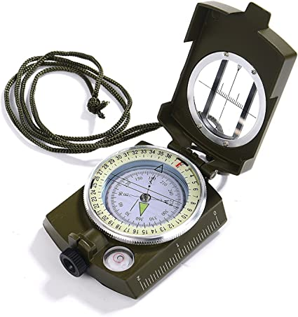 Military Mil Spec Style Lensatic Compass Bubble Level Camping Hiking Survival
