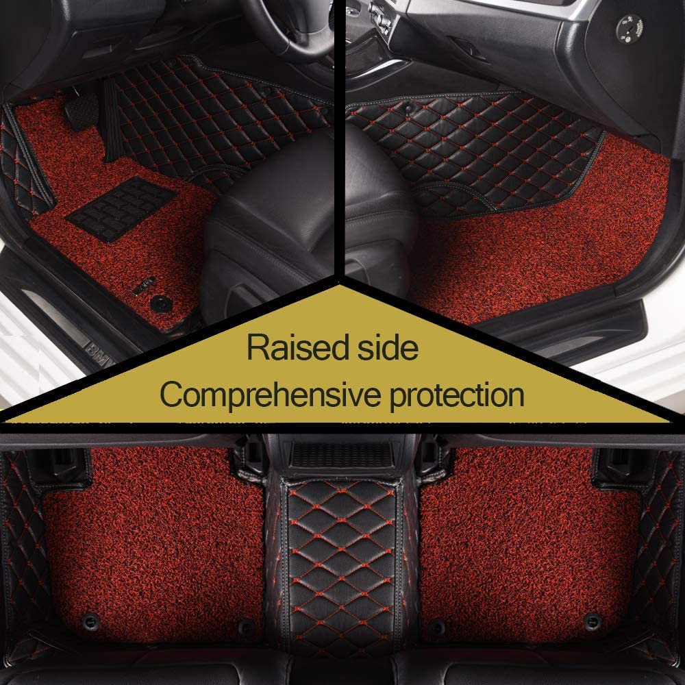 AOYMEI Floor Mats for Tesla Model 3 Custom Fit 2019 Double Layer Fully Surrounded Protection Waterproof All-Weather Heavy Duty Detachable Wire Loop Nonslip Front and Second Row red