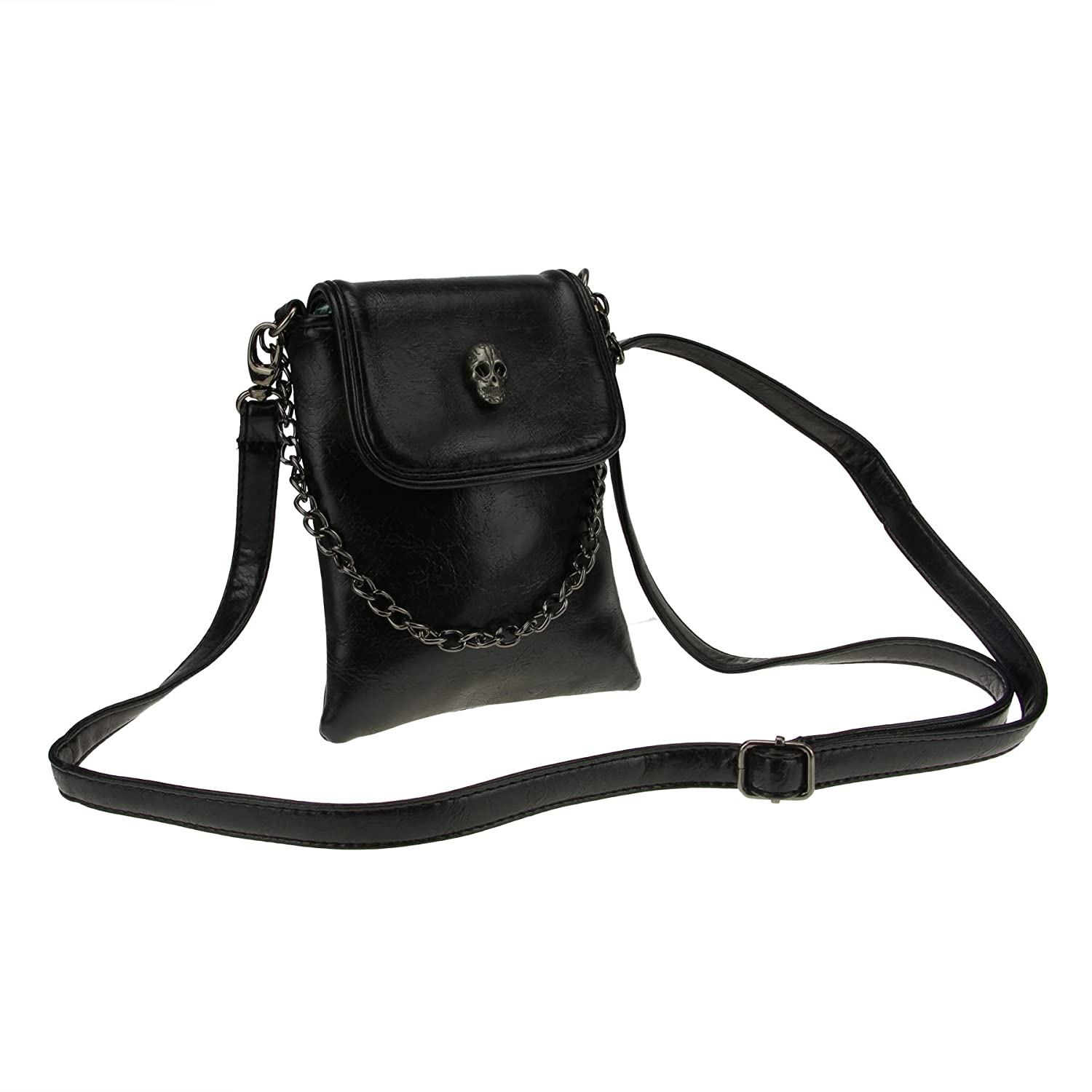 Fakeface Vintage Black PU Leather Shoulder Bags Crossbody Bags Small Portable Cell Phone Holder Wallet Purse Coin Pouches Clutch for Women Teen Girls