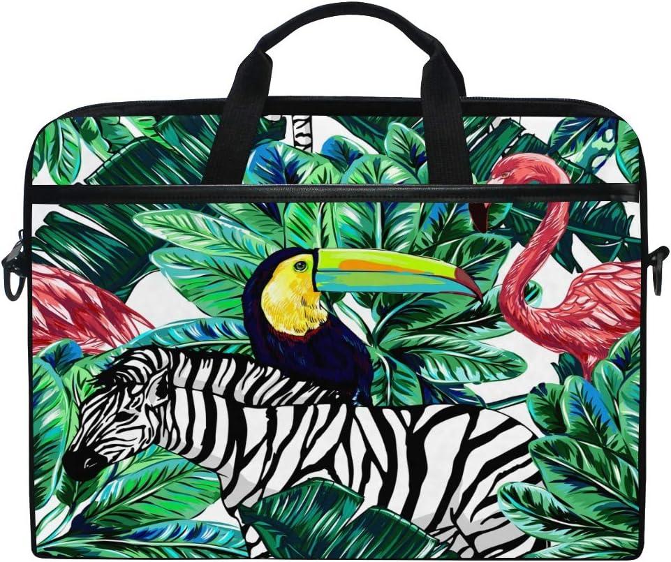 HaJie - Bolsa para ordenador portátil con hojas tropicales de palmeras de tucán flamenco, 14 – 14.5 en bolsa protectora de viaje con correa para el hombro para hombres, mujeres y niñas