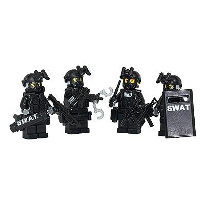 Modern Brick Warfare Swat Team Police Squad Custom Minifigure: Toys & Games