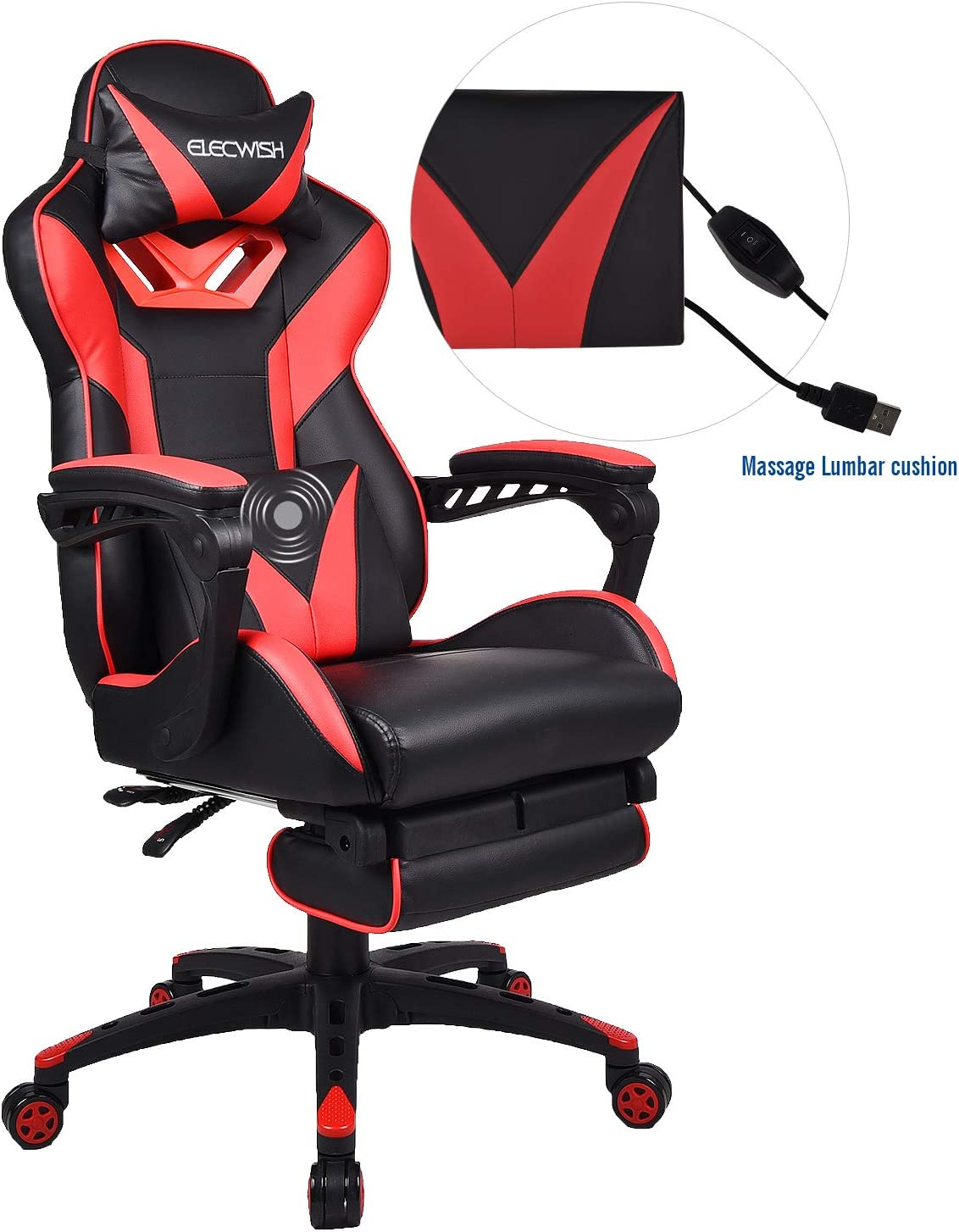 Elecwish Gaming Chair with Footrest Racing Style High-Back PU Leather Office Chair Computer Desk Chair Executive and Ergonomic Style Swivel Chair with Headrest and Massage Lumbar Support Red