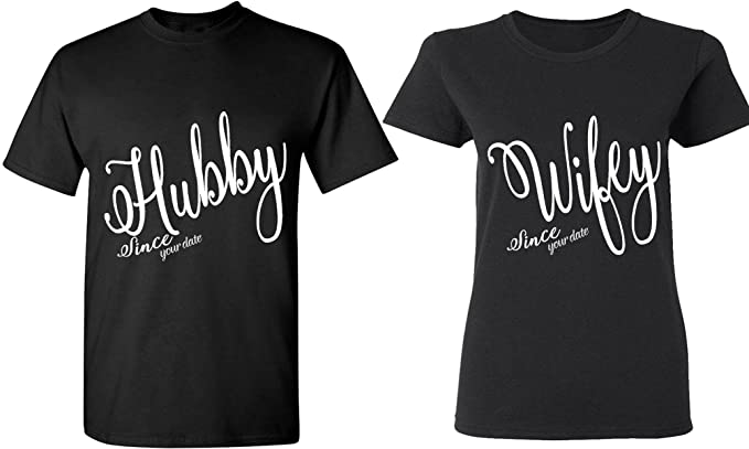 8ca179164 Amazon.com: Hubby & Wifey Since [Your Date] - Matching Couple Shirts ...