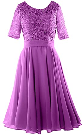 MACloth Elegant Short Mother of The Bride Dress Half Sleeves Lace Formal  Gown (2,